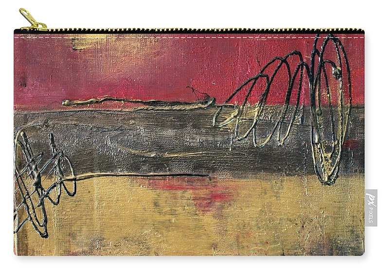 Red Carry-all Pouch featuring the painting Metallic Square Series I - Red And Gold Urban Abstract Painting by Liz Moran