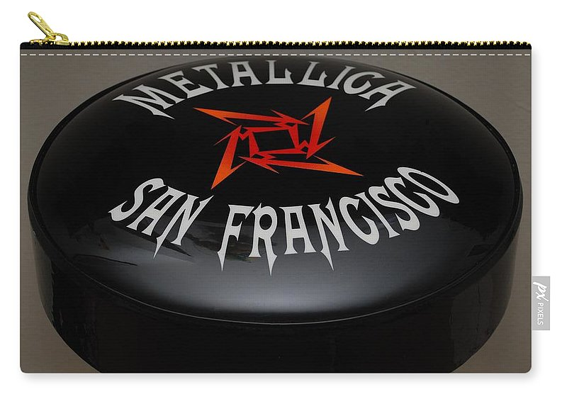 Metallica Carry-all Pouch featuring the photograph Metallica Bar Stool by Rob Hans