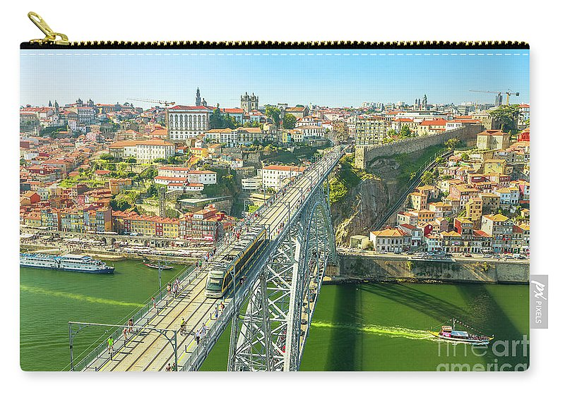 Porto Carry-all Pouch featuring the photograph Metro Train Over Porto Bridge by Benny Marty