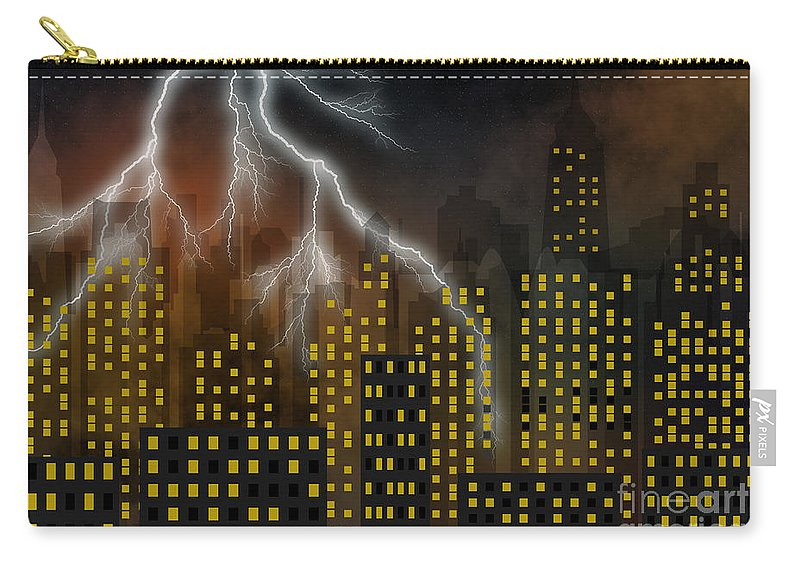 City Carry-all Pouch featuring the digital art Metropolis At Stormy Night by Michal Boubin