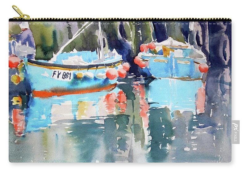 Mevagissey Harbour Carry-all Pouch featuring the painting Mevagissey Harbour by Ibolya Taligas