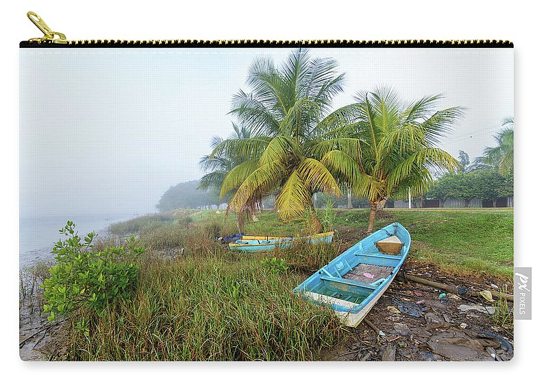 Mexican Carry-all Pouch featuring the photograph Mexican Boat In The Fog by Shane Adams