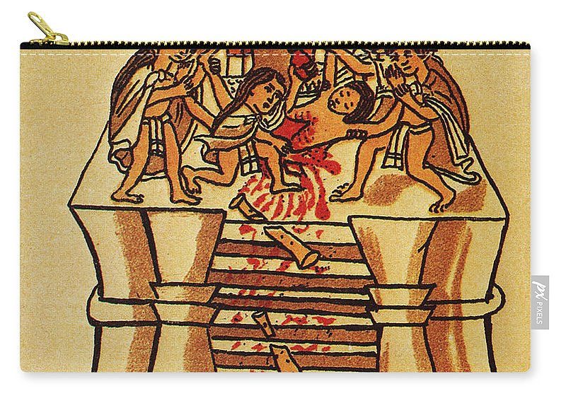 16th Century Carry-all Pouch featuring the photograph Mexico: Aztec Sacrifice by Granger
