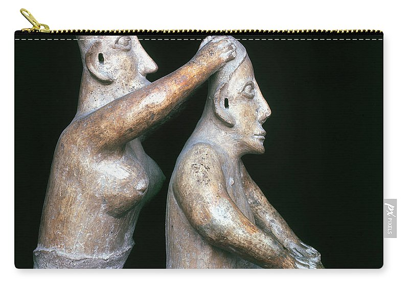 200 B.c. Carry-all Pouch featuring the photograph Mexico: Totonac Figures by Granger