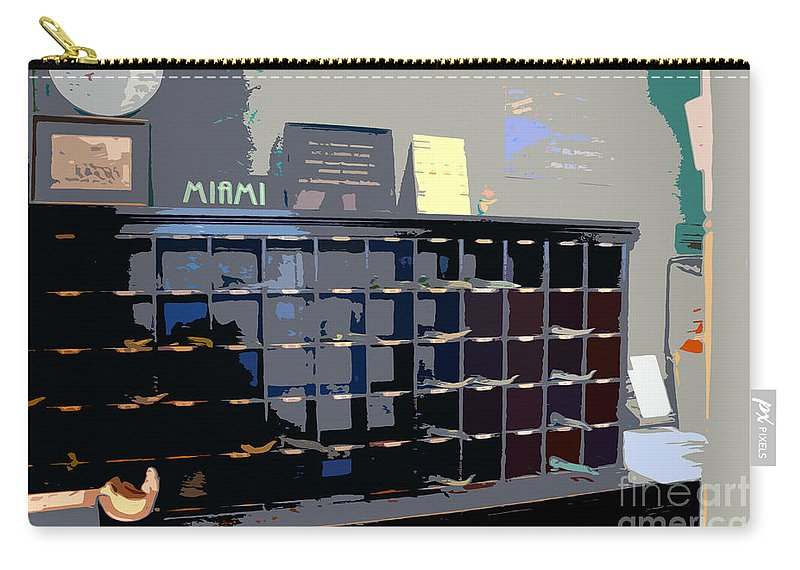 Miami Beach Florida Carry-all Pouch featuring the photograph Miami Beach Hotel Key Slots by David Lee Thompson