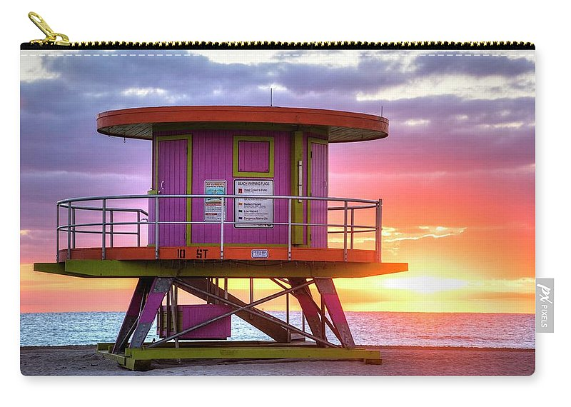 Miami Carry-all Pouch featuring the photograph Miami Beach Round Life Guard House Sunrise by Toby McGuire