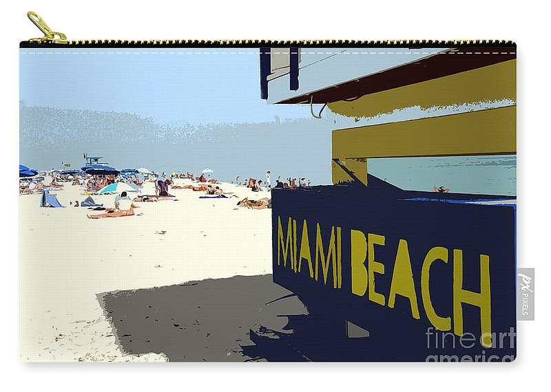Miami Beach Florida Carry-all Pouch featuring the photograph Miami Beach Work Number 1 by David Lee Thompson