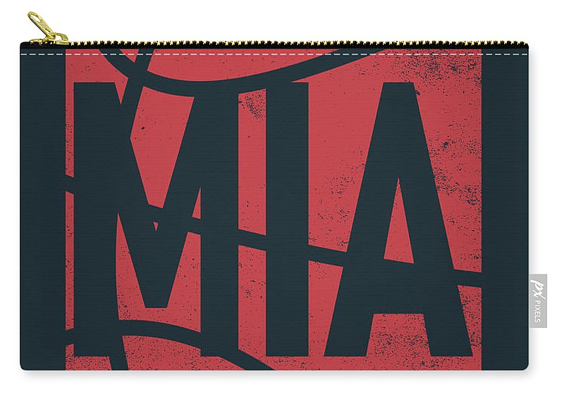 Heat Carry-all Pouch featuring the mixed media Miami Heat City Poster Art by Joe Hamilton