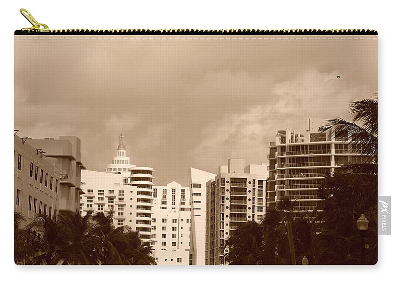 Sepia Carry-all Pouch featuring the photograph Miami Sepia Sky by Rob Hans