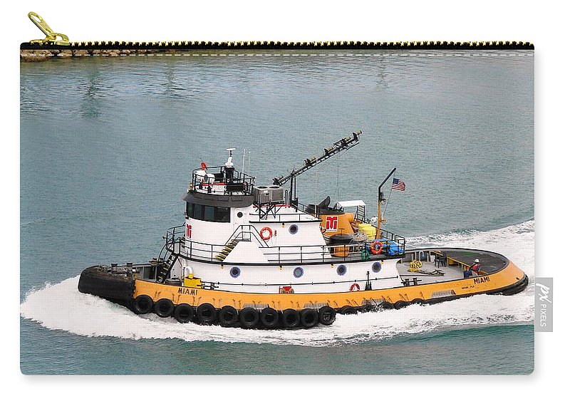 Tugboat Carry-all Pouch featuring the photograph Miami Tug by Margaret Bobb