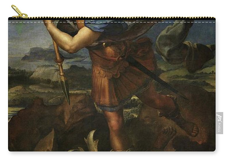 Urbino Carry-all Pouch featuring the painting Michael Defeats Satan by Raphael