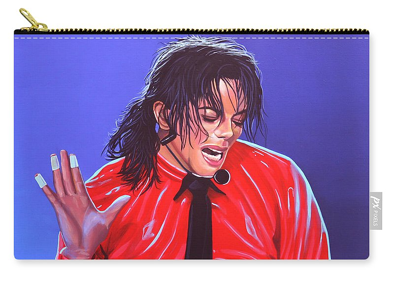 Michael Jackson Carry-all Pouch featuring the painting Michael Jackson 2 by Paul Meijering