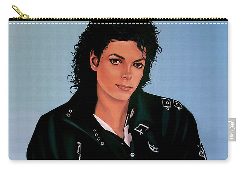 Michael Jackson Carry-all Pouch featuring the painting Michael Jackson Bad by Paul Meijering