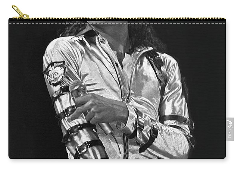 Music Legend Michael Jackson Is Shown Performing On Stage During A Live Concert Appearance Carry-all Pouch featuring the photograph Michael Jackson - The King of Pop by Concert Photos