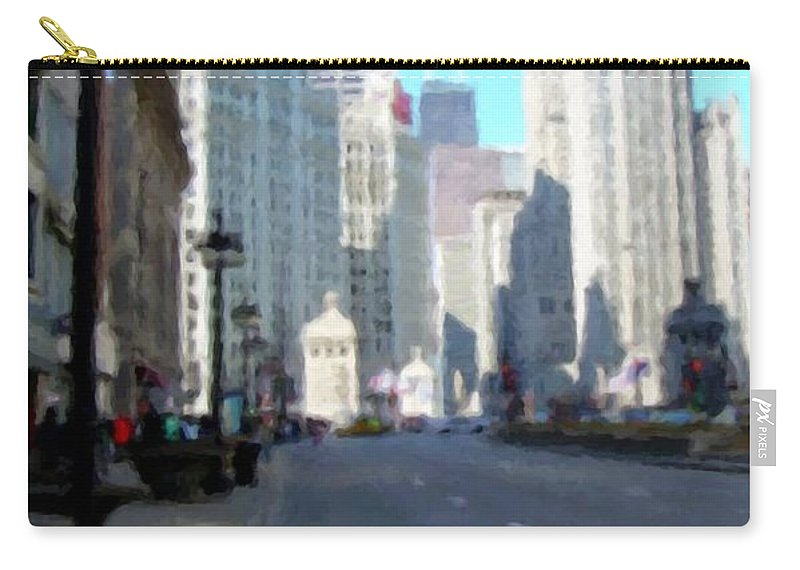 Chicago Carry-all Pouch featuring the digital art Michigan Ave tall by Anita Burgermeister