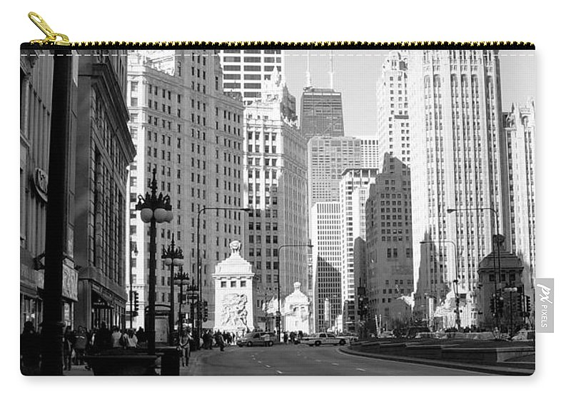 Chicago Carry-all Pouch featuring the photograph Michigan Ave Tall B-w by Anita Burgermeister