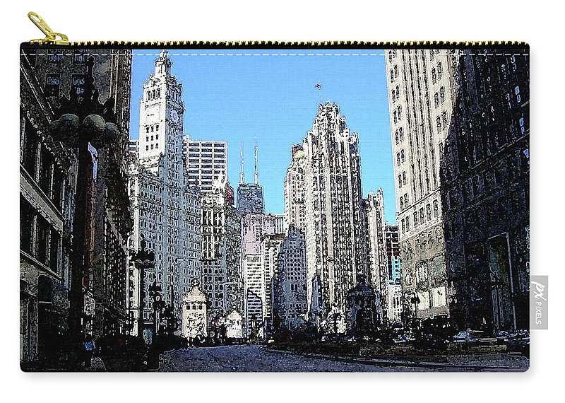 Chicago Carry-all Pouch featuring the digital art Michigan Ave Wide by Anita Burgermeister