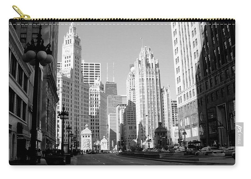 Chicago Carry-all Pouch featuring the photograph Michigan Ave Wide B-w by Anita Burgermeister