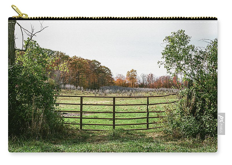 35mm Film Carry-all Pouch featuring the photograph Michigan Farm And Fence by John McGraw