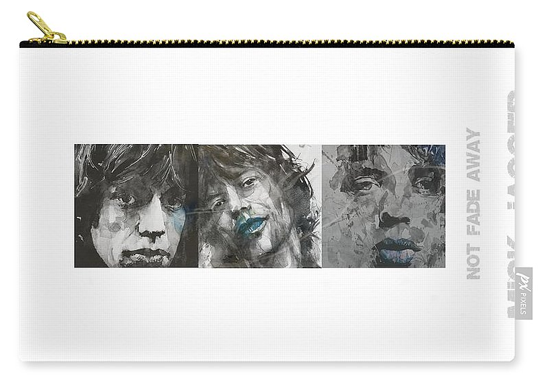 Mick Jagger Carry-all Pouch featuring the mixed media Mick Jagger Triptych by Paul Lovering
