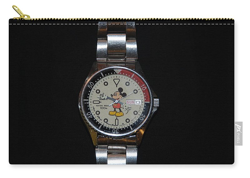 Mickey Mouse Carry-all Pouch featuring the photograph Mickey Mouse Watch by Rob Hans