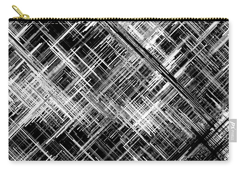 Black And White Carry-all Pouch featuring the digital art Micro Linear Black And White by Will Borden