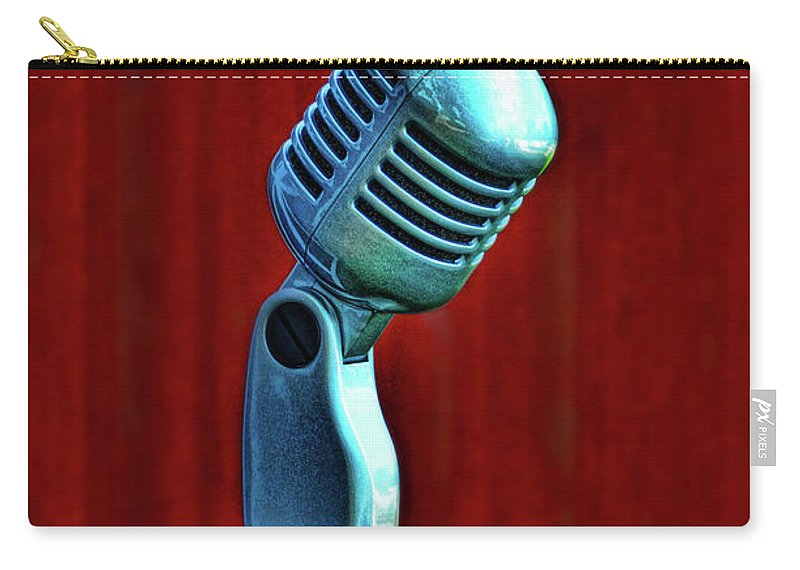 Microphone Carry-all Pouch featuring the photograph Microphone by Jill Battaglia