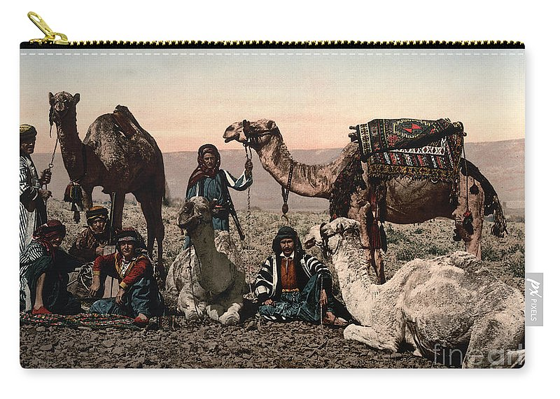 1890s Carry-all Pouch featuring the photograph Middle East: Travelers by Granger