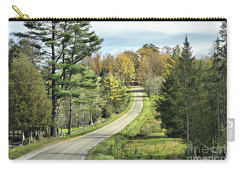 Landscape Carry-all Pouch featuring the photograph Middle Road In Autumn by Deborah Benoit