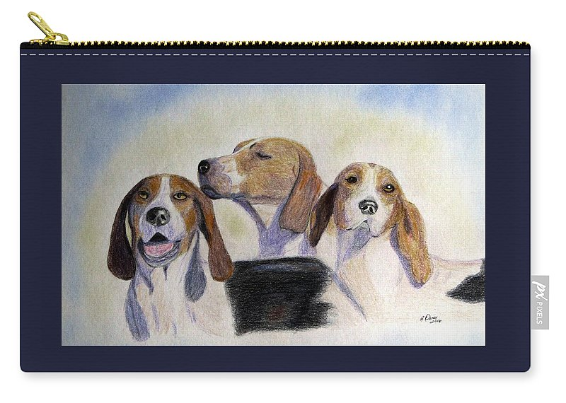 Foxhunting Carry-all Pouch featuring the drawing Middleburg Hounds by Angela Davies