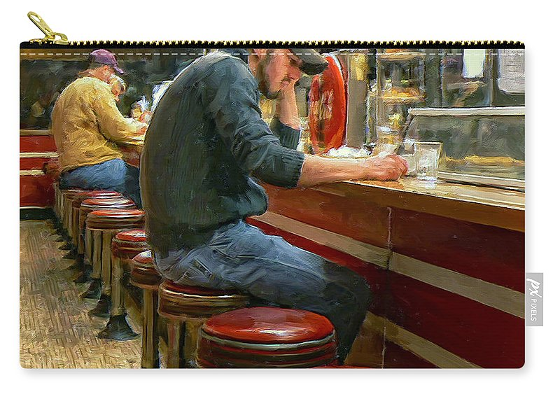 Diner Carry-all Pouch featuring the painting Midnight At Shorty's by Dominic Piperata