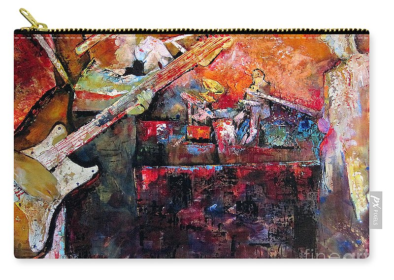 Guitar Carry-all Pouch featuring the painting Midnight Ensemble by Shadia Derbyshire