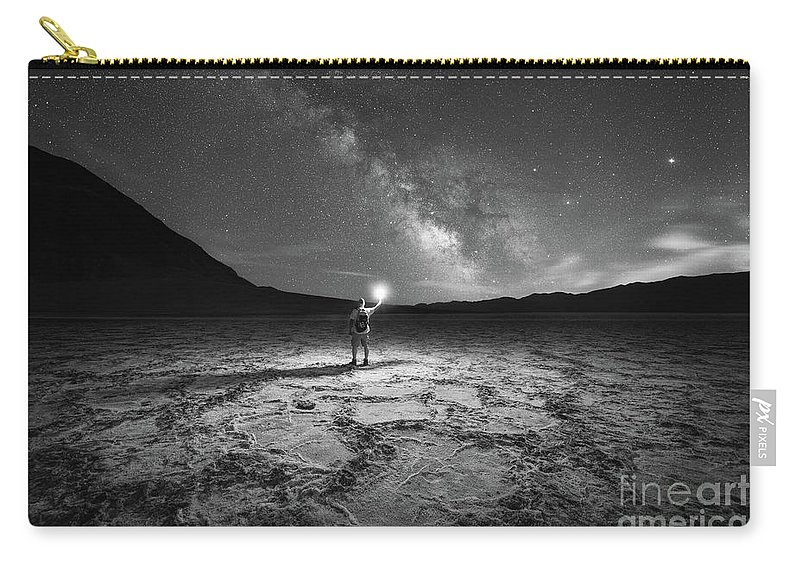 Badwater Basin Carry-all Pouch featuring the photograph Midnight Explorer At Badwater Basin Bw by Michael Ver Sprill