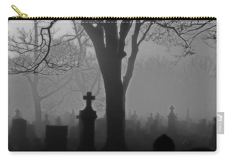 Black And White Carry-all Pouch featuring the photograph Midnight Graveyard Fog by Gothicrow Images