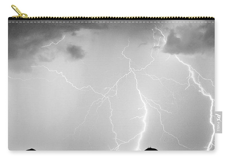 Lightning Carry-all Pouch featuring the photograph Midnight Hour Black And White by James BO Insogna