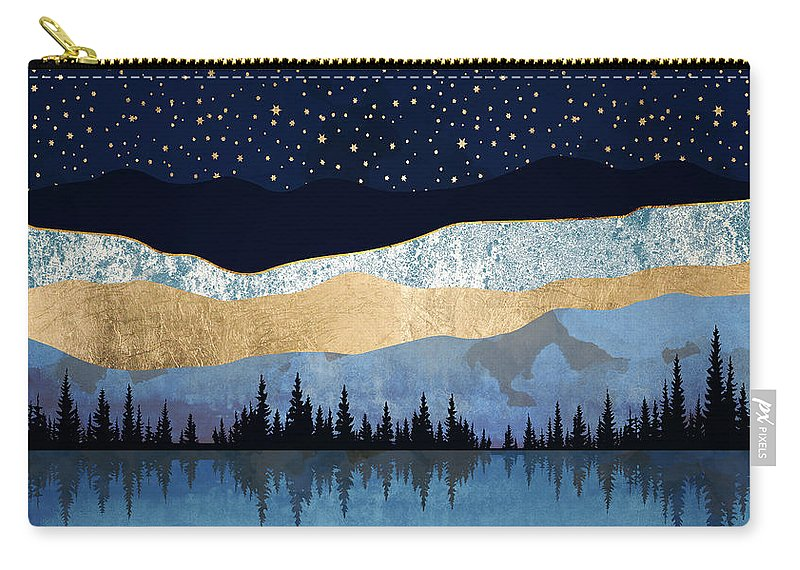 Midnight Carry-all Pouch featuring the digital art Midnight Lake by Spacefrog Designs
