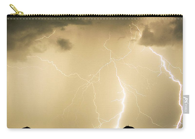 Arizona Lightning Storms Carry-all Pouch featuring the photograph Midnight Lightning Storm by James BO Insogna