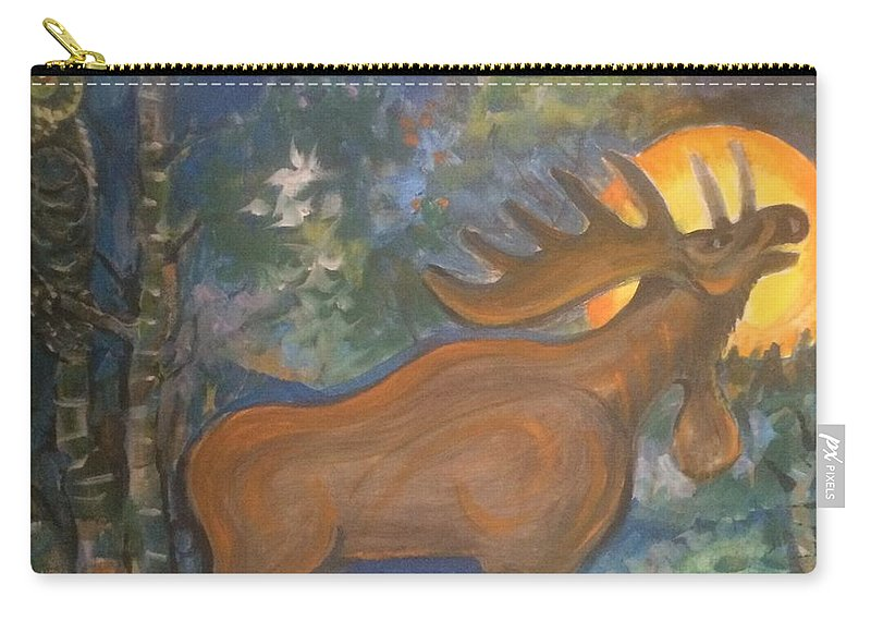 Mountain Majic Wild Life Carry-all Pouch featuring the mixed media Midnight Mountain Majic 2 by Walter M Davis