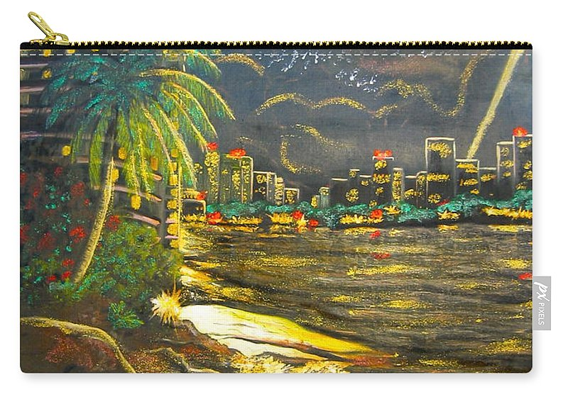 City Lights Carry-all Pouch featuring the painting Midnight Sun by V Boge