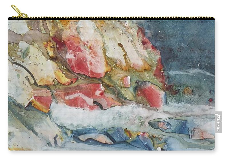 Abstract Carry-all Pouch featuring the painting Midnight Surf by Ruth Kamenev