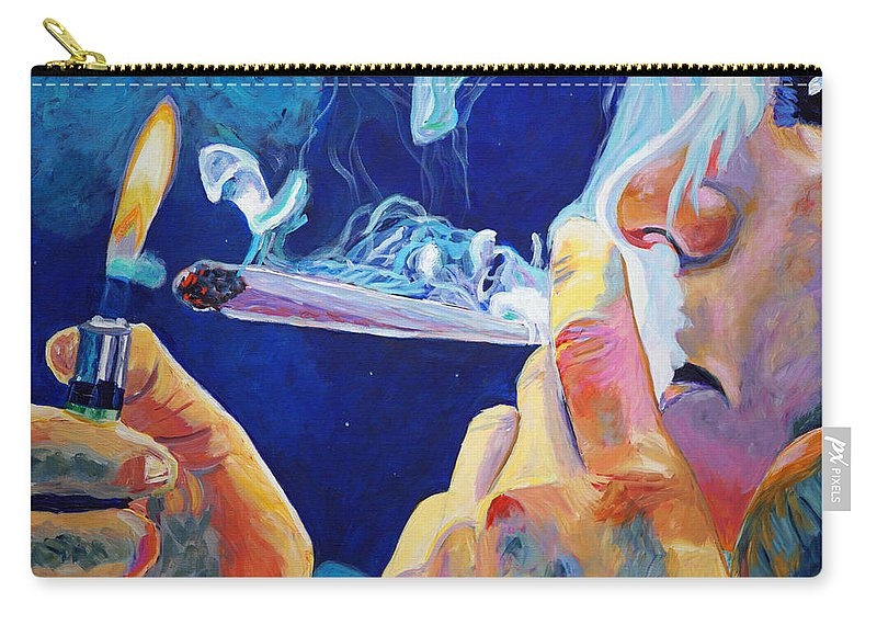 Smoking A Joint Carry-all Pouch featuring the painting Midnight Toker by Anita Toke