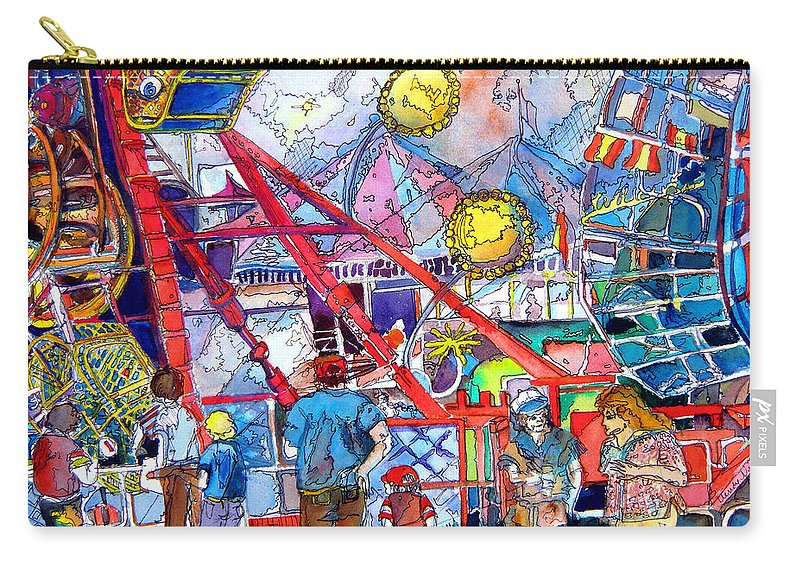 Midway Carry-all Pouch featuring the painting Midway Amusement Rides by Mindy Newman