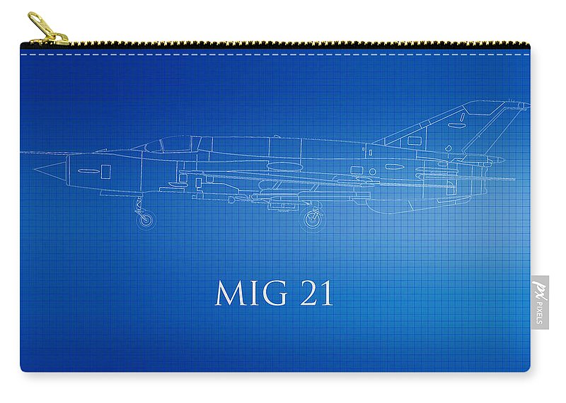 Mig 21 Carry-all Pouch featuring the photograph Mig 21 Blueprint by Brooke Roby
