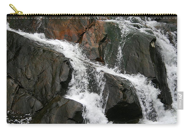 Water Waterfall Rush Rushing Cold River Creek Stream Rock Stone Wave White Wet Carry-all Pouch featuring the photograph Might by Andrei Shliakhau