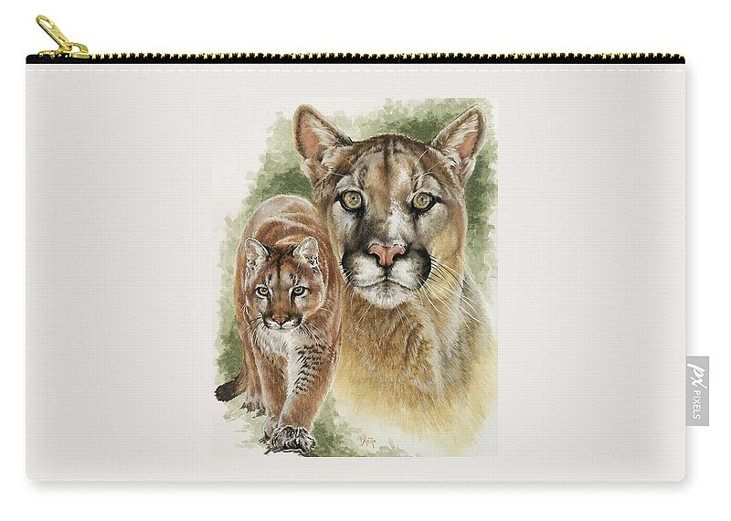 Cougar Carry-all Pouch featuring the mixed media Mighty by Barbara Keith