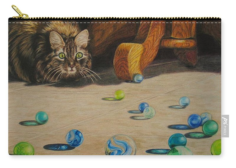 Cats Carry-all Pouch featuring the drawing Mighty Hunter by Karen Ilari