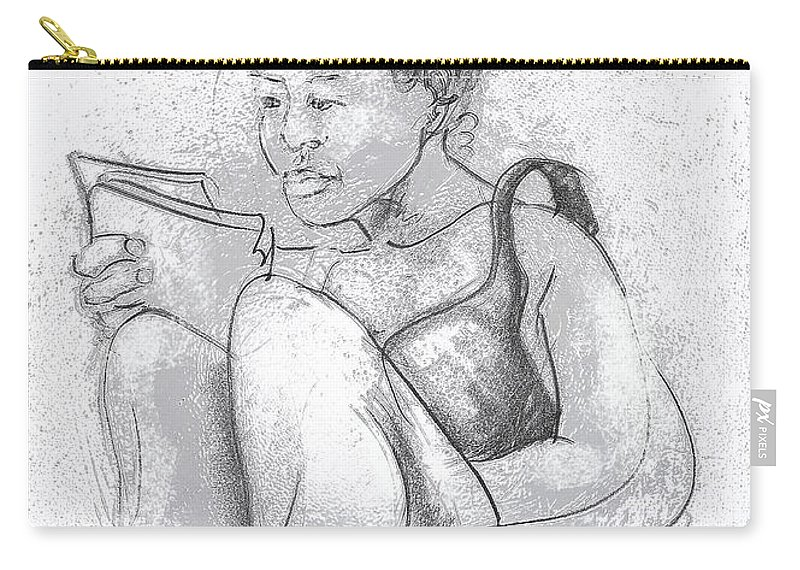 Pen & Ink Carry-all Pouch featuring the digital art Migiwa by Gordon Tardio