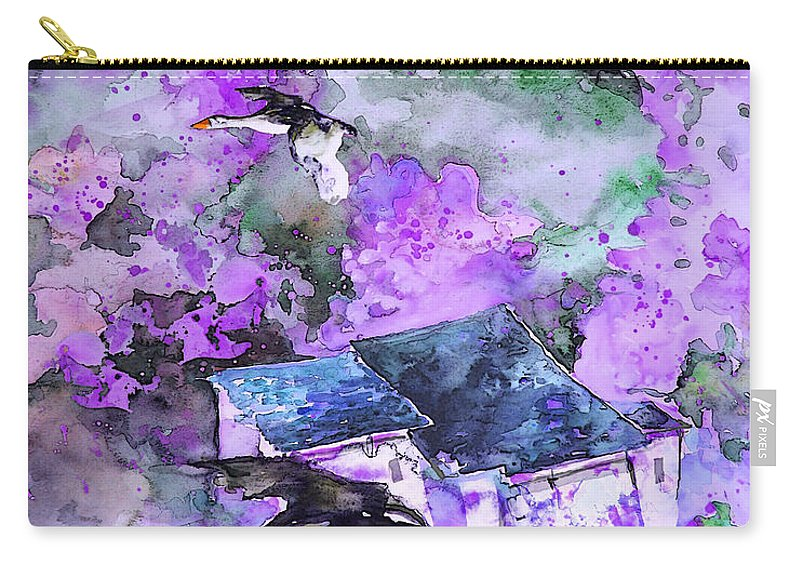 Watercolour Bird Painting Carry-all Pouch featuring the painting Migration 01 by Miki De Goodaboom