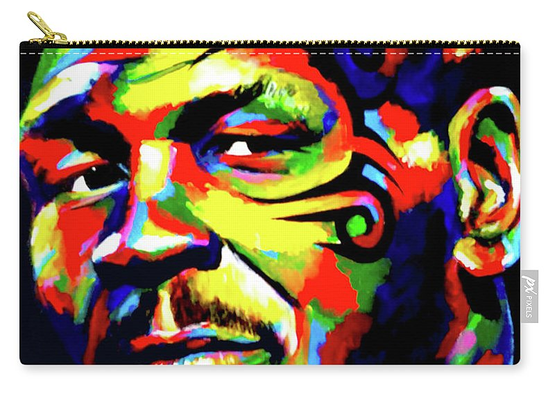 Mike Tyson Carry-all Pouch featuring the painting Mike Tyson Abstract by Chris Bardell