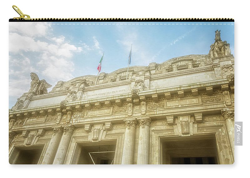 Joan Carroll Carry-all Pouch featuring the photograph Milan Italy Train Station Facade by Joan Carroll